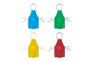 Set of the blank colorful kitchen aprons. Collection of protective garments.