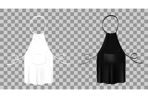 Front view of the blank white and black kitchen aprons. Protective garment.