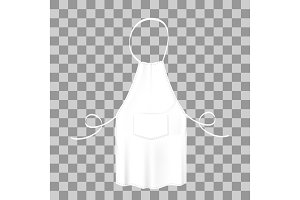 Blank white apron. Protective garment.