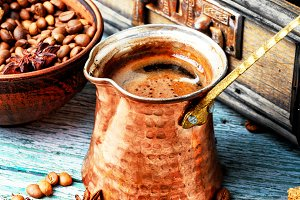 Turkish coffee made in cezve