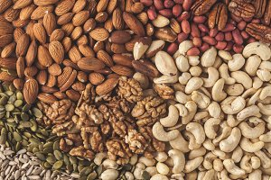 Variety of nuts background