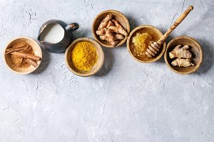 Ingredients for turmeric latte
