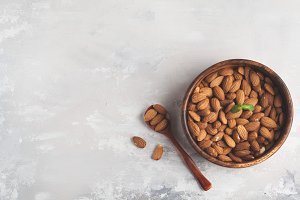Almond in wooden bowl