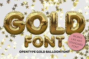 Gold foil balloon font