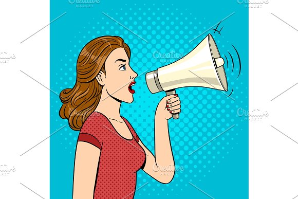 Woman With Megaphone Pop Art Style Vector