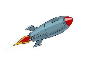 Rocket missile flying pop art style vector