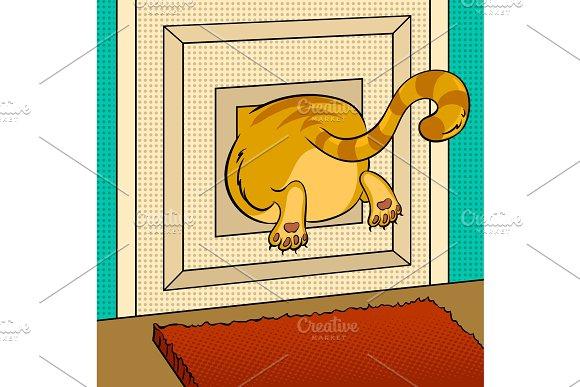 Fat cat stuck pop art vector illustration