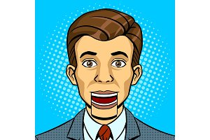 Speaking puppet head pop art style vector
