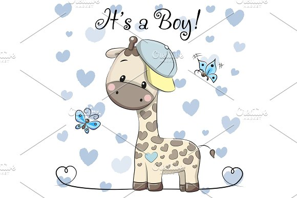 Baby Shower Greeting Card With Cute Giraffe Boy