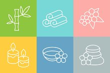 Set of spa and recreation icons.