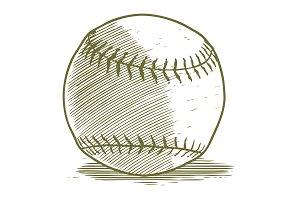 Woodcut Baseball