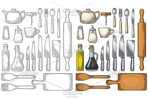 Set Kitchen utensils. Vector vintage engraving