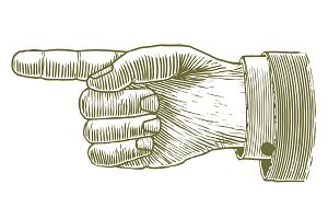 Woodcut Hand Pointing
