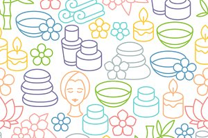 Spa seamless patterns.