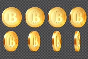 Set of 3d metallic bitcoins.