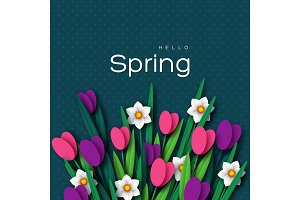 Hello Spring greeting card.