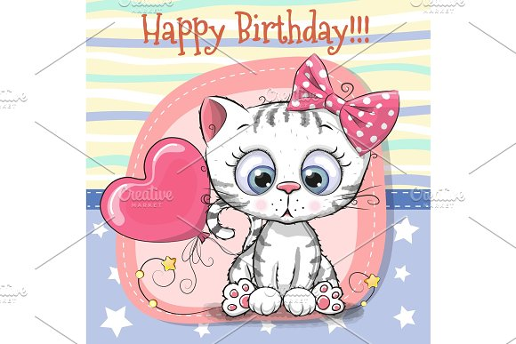 Cute Cartoon Kitten With Balloon