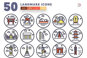 Landmark Illustrations - 50 Icons