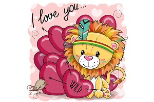 Cute Cartoon tribal Lion with hearts