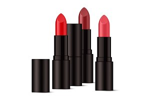 Realistic lipsticks in glossy black packaging.