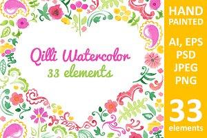 Watercolor flower elements