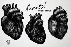 Hearts! Drawings with pencil.