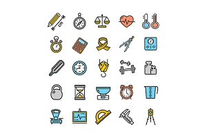 Measurement Thin Line Icon Set. Vect