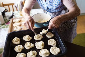 Senior woman baking