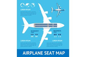 Airplane Plan Seat Map Card.