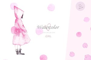 Cute girl. Watercolor collection
