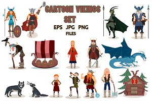 Set of viking cartoon characters.