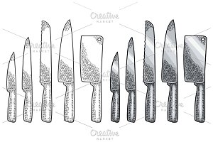 Set kitchen knifes. Vector black vintage engraving