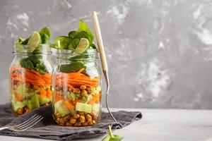 Vegetables and chickpeas salad jar