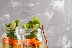 Vegetables and chickpeas salad jars