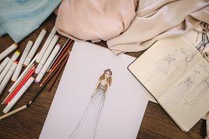 Closeup of a dress designers table