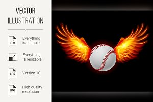 Baseball fiery wings