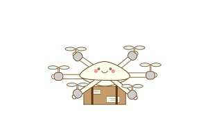 Cute delivery drone icon