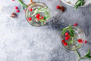 cranberry cocktail with rosemary
