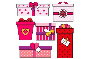 St Valentine's day gift boxes icons
