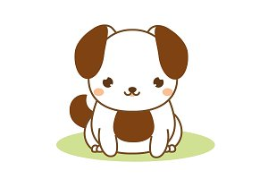 Cute puppy dog icon