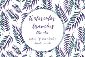 Watercolor branches violet clipart