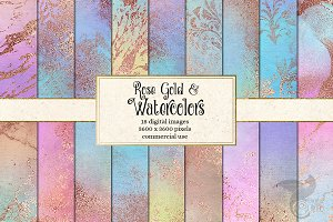 Rose Gold and Watercolor Textures