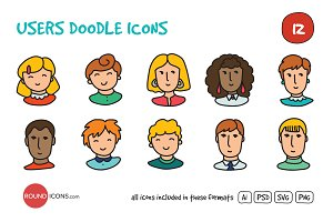 Users Doodle Icons Set