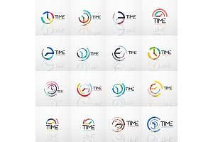Collection of vector abstract logo ideas, time concepts or clock business icon set