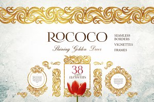 38 Golden Vector Elements. Rococo.1