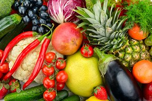 assortment fresh fruits and vegetabl