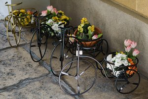 Photo of decorative bicycle with flowers