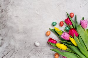 Spring tulips and easter eggs