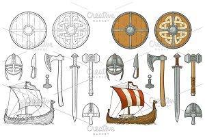 Set viking. Knife, drakkar, axe, helmet, sword, hammer, thor amulet