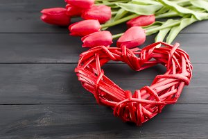 Heart, gift box and tulips